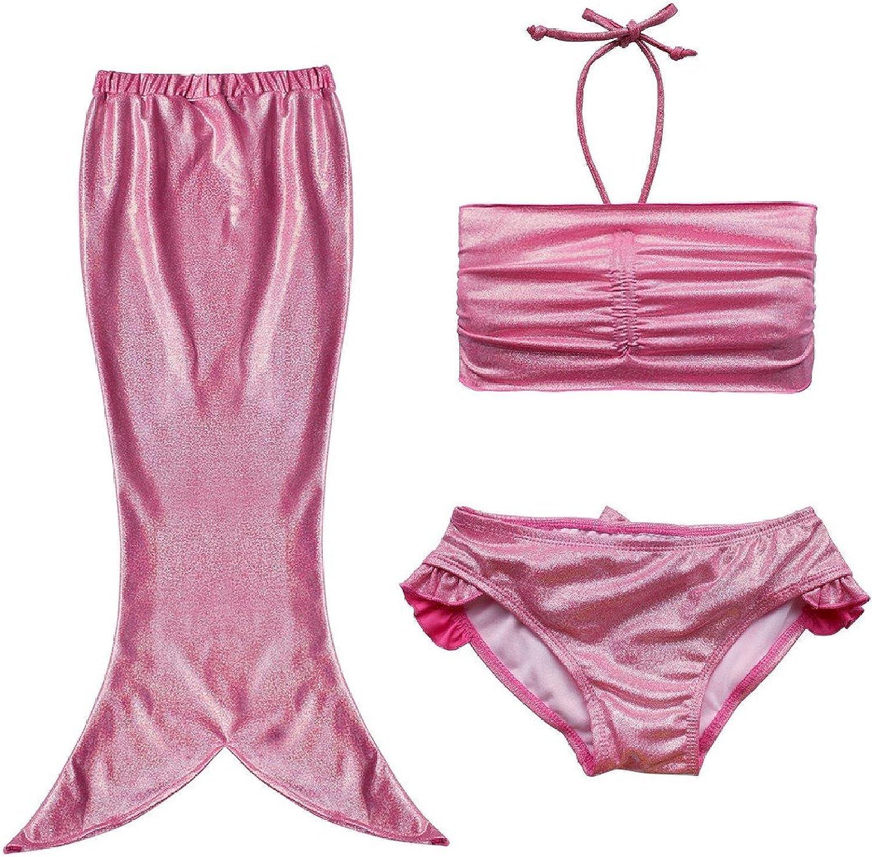 FOUNDO Little Girl 3pcs Princess Swimmable Mermaid Tail Bathing Bikini Swimsuit