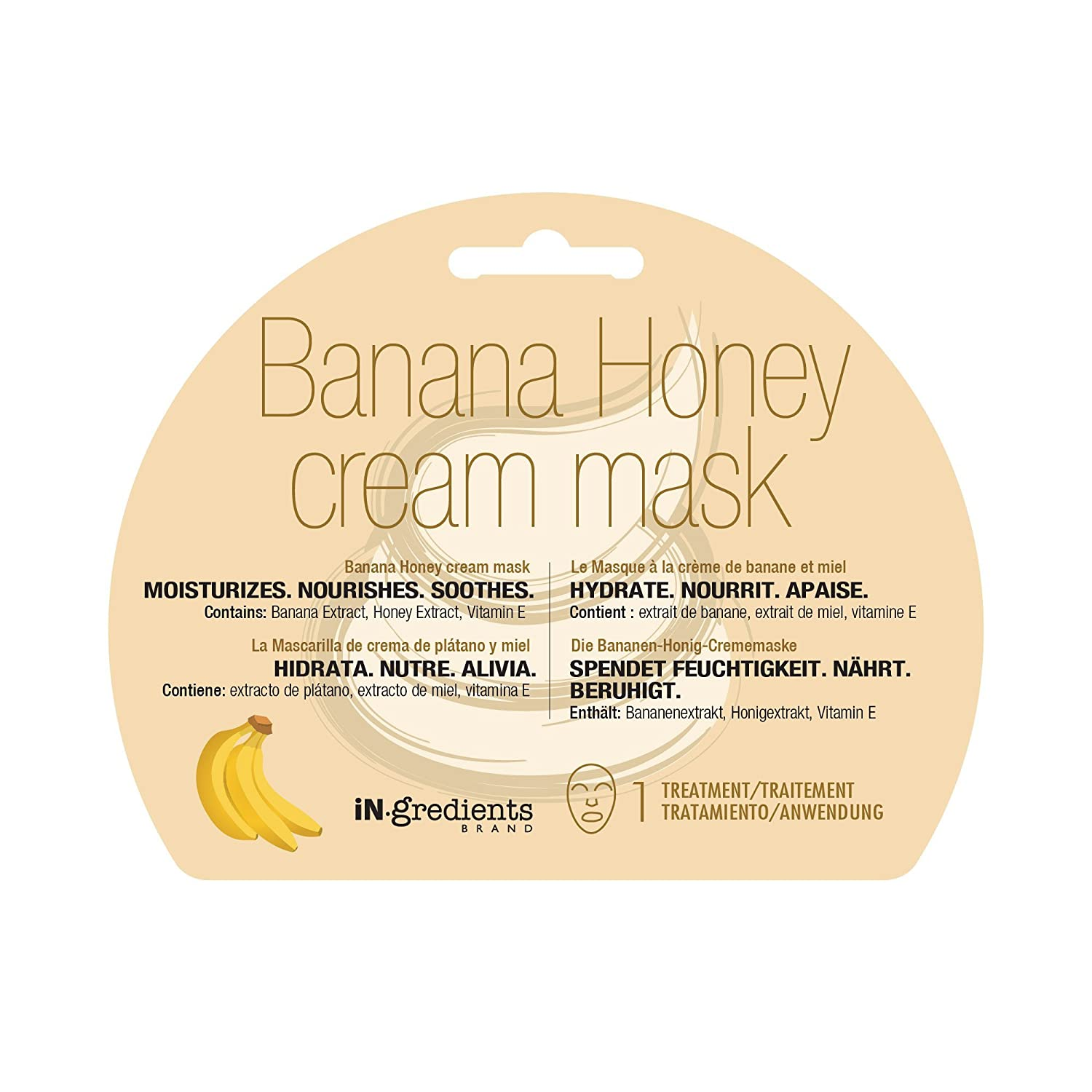 Amazon.com : iN.gredients Banana Honey Cream Mask - Moisturizing, Cleansing, Exfoliating Pore Refiner for Dehydrated, Sensitive Skin - Made in Korea : ...