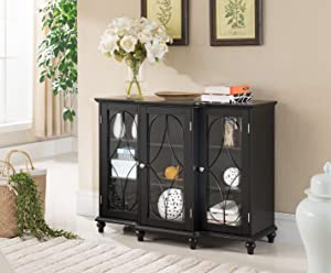 Kings Brand Furniture Wood Storage Sideboard Buffet Cabinet Console Table, Black
