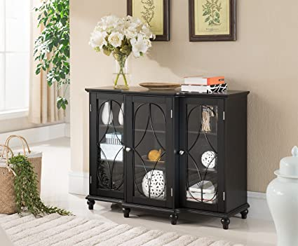Bon Kings Brand Furniture Wood Storage Sideboard Buffet Cabinet Console Table,  Black