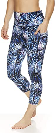 Gaiam Women's High Waisted Capri Yoga Pants - High Rise Compression Workout Leggings - Athletic Gym Tights