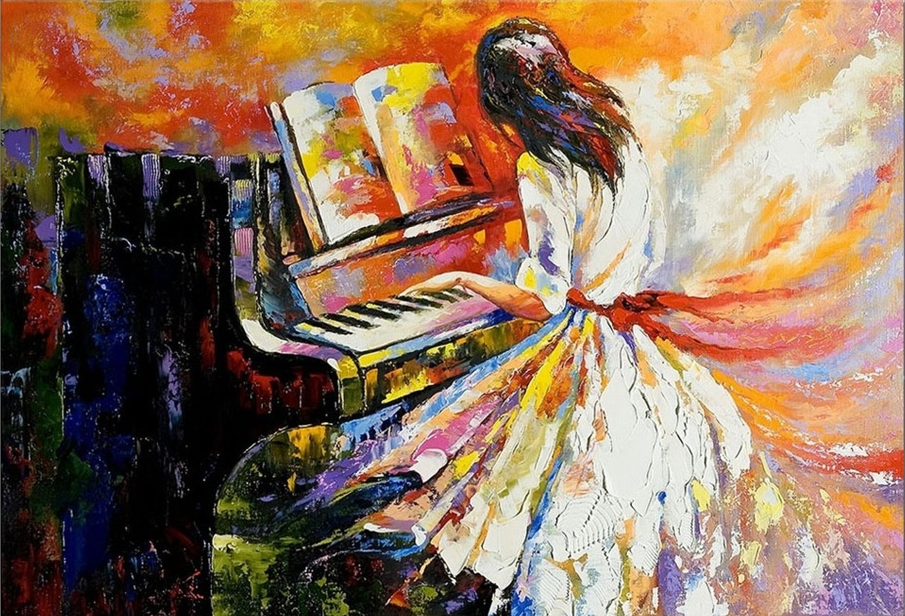 Startonight Canvas Wall Art Playing the Piano, Music USA Design for Home Decor, Dual View Surprise Artwork Modern Framed Ready to Hang Wall Art 31.5 X 47.2 Inch 100% Original Art Painting!