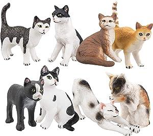 TOYMANY 8PCS Realistic Cat Figurines, Educational Cat Figures Toy Set, Kitten Easter Eggs Cake Topper Christmas Birthday Gift for Kids Boys Girls Children