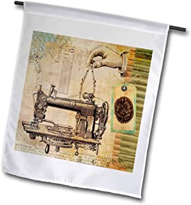 3dRose Lens Art by Florene - Steampunk - Image of Steampunk Sewing Machine with Hand and Tape Measure - 12 x 18 inch Garden Flag (fl_322188_1)