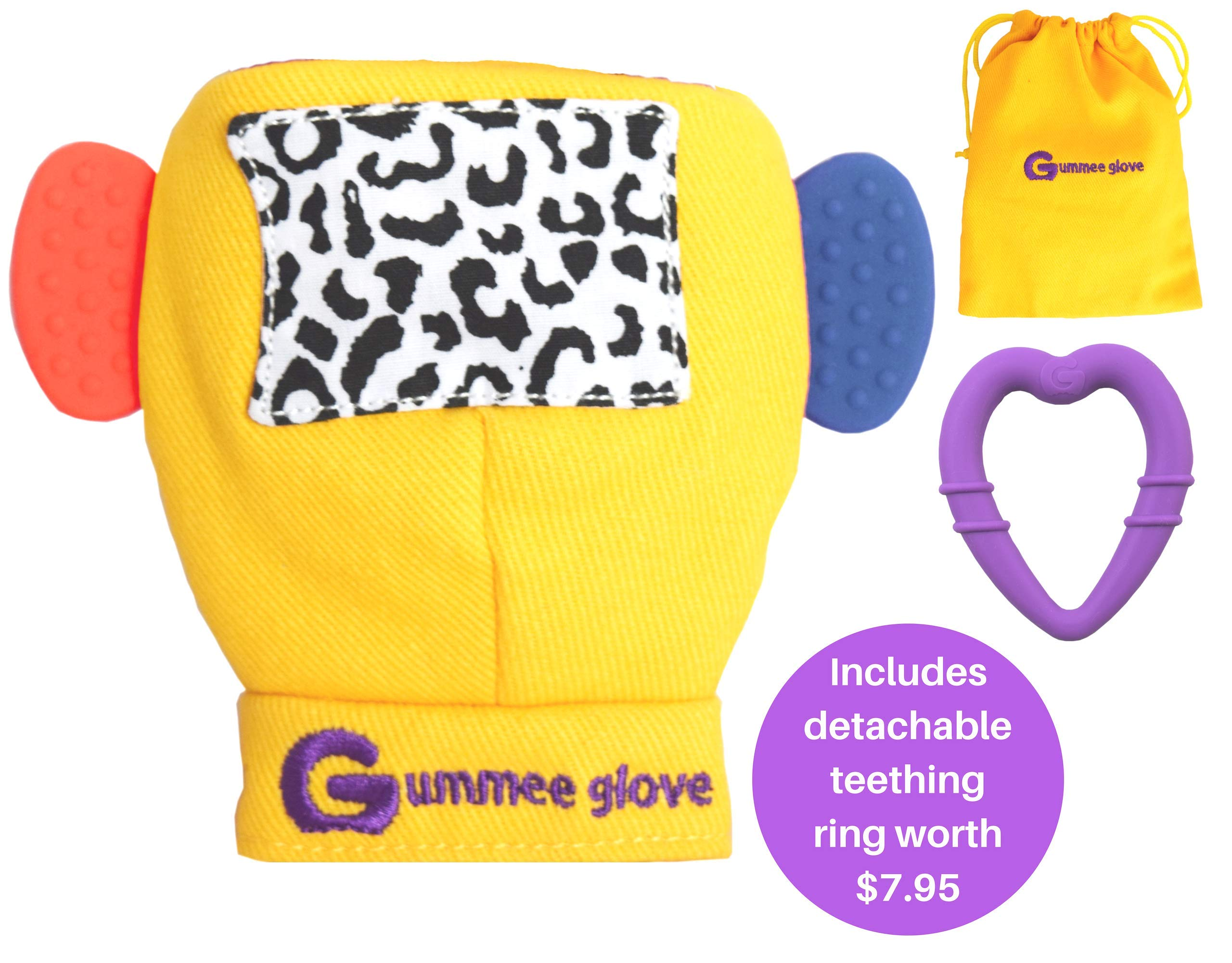 Gummee Glove Award Winning Baby Teething Mitten Premium Quality 100% Cotton Includes Detachable Teether Ring and Travel Bag - 3 Months + Yellow - Undroppable - Soothe Babies Painful Gums Naturally by Gummee