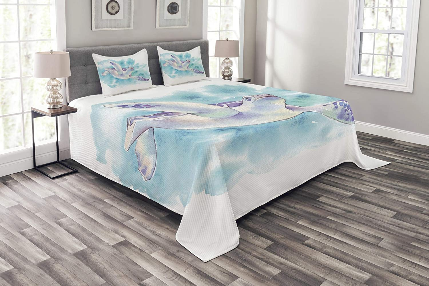 Lunarable Ocean Bedspread, Turtle Swimming Sea Underwater Brushstroke Hazy Blurry Soft Watercolor Design, Decorative Quilted 3 Piece Coverlet Set with 2 Pillow Shams, King Size, Turquoise Lilac