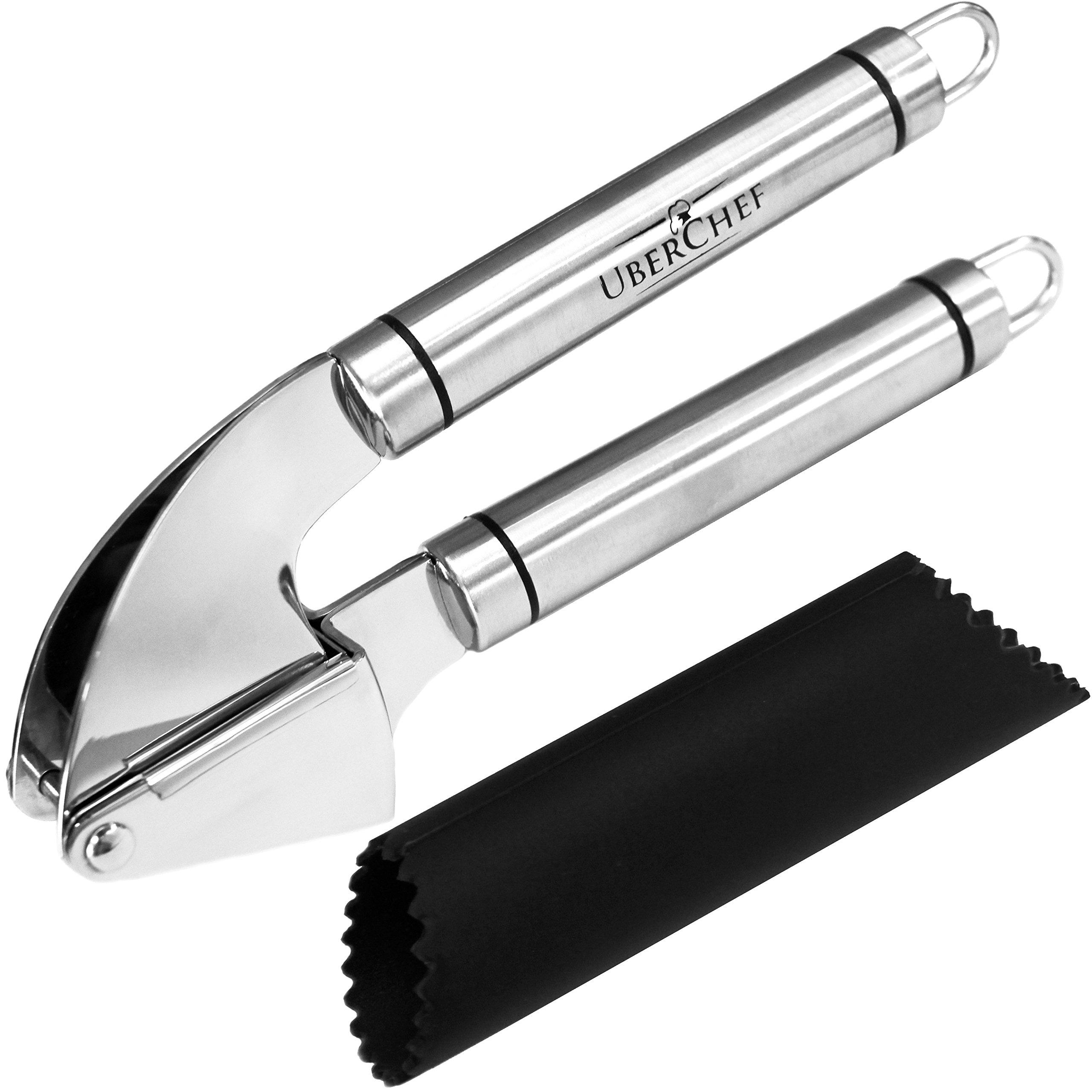 Uberchef Premium Stainless Steel Garlic Press & Peeler Set Mince & Crush Gar.. 18