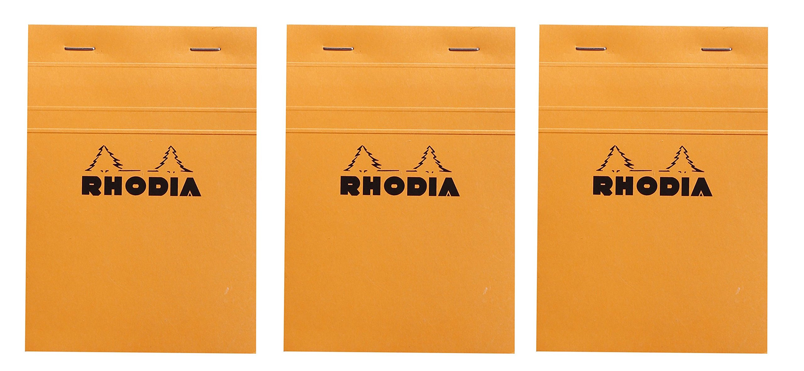 Rhodia Classic Orange Notepad graph - 6 in. x 8-1/4 in, Pack of 3 by Rhodia