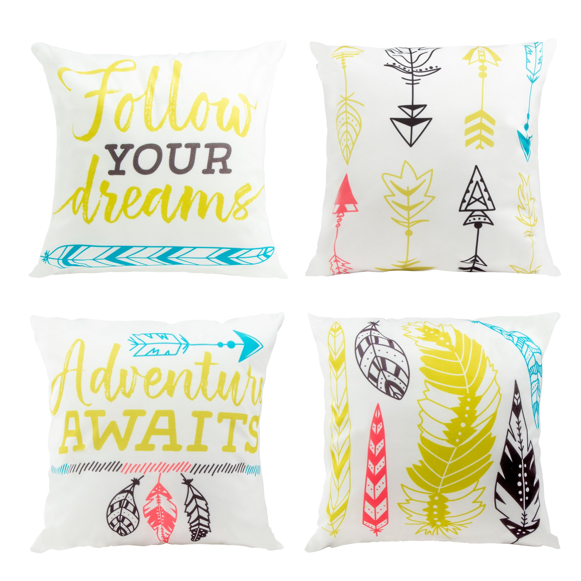 Juvale Throw Pillow Covers - 4-Pack Colorful Decorative Couch Throw Pillow Cases, Bright Bohemien Feather Arrow Print Typography Design, Modern Home Decor Cushion Covers, Fits 18 x 18 Pillows
