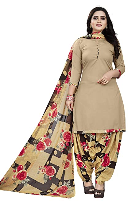 CLEZORA Women's French Crepe Unstitched Salwar Suit Material with Dupatta  PRINTED CHIKU Free Size