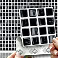 """18 BLACK MOSAIC EFFECT WALL TILES - 2mm Thick and solid Self Adhesive Stick on Wall Tile Stickers Transfers - 18 tiles per box 4""""x 4"""" (10cm x 10cm) - NO CEMENTING ! NO GROUTING ! Each box of 2mm Thick Solid Tile Stickers will totally cover over the area underneath of 2 square feet. TILE OVER ANY SIZE OF TILE OR ONTO THE WALL, thick Self Adhesive Wall Tiles that are Water and Steam Resistant for both Kitchens and Bathrooms."""