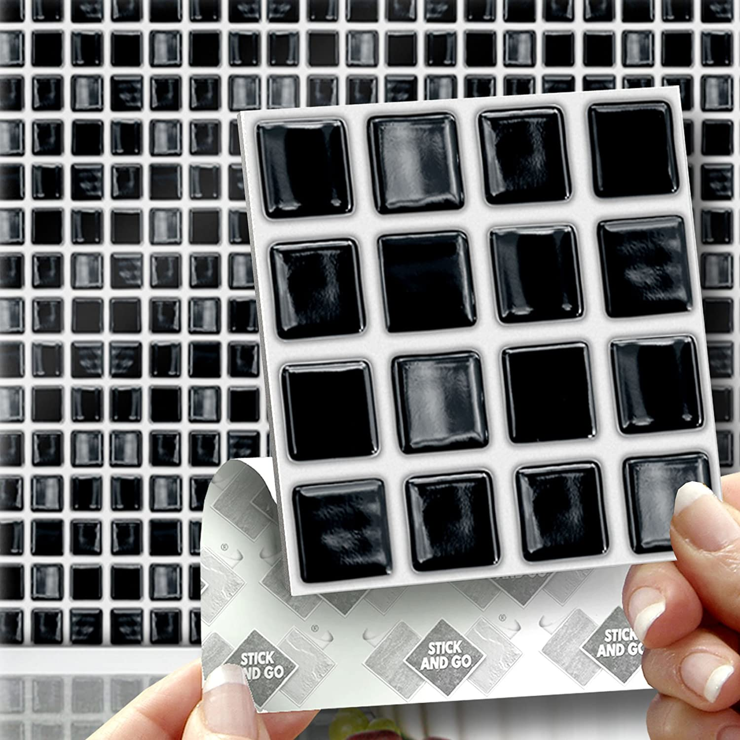 How to cover wall tiles - 18 Black Mosaic Effect Wall Tiles 2mm Thick And Solid Self Adhesive Stick On Wall