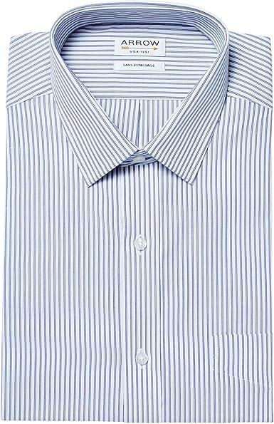 ARROW - Camisa de Manga Corta para Hombre, sin Planchar, diseño de Rayas, Color Azul Marino: Amazon.es: Ropa y accesorios