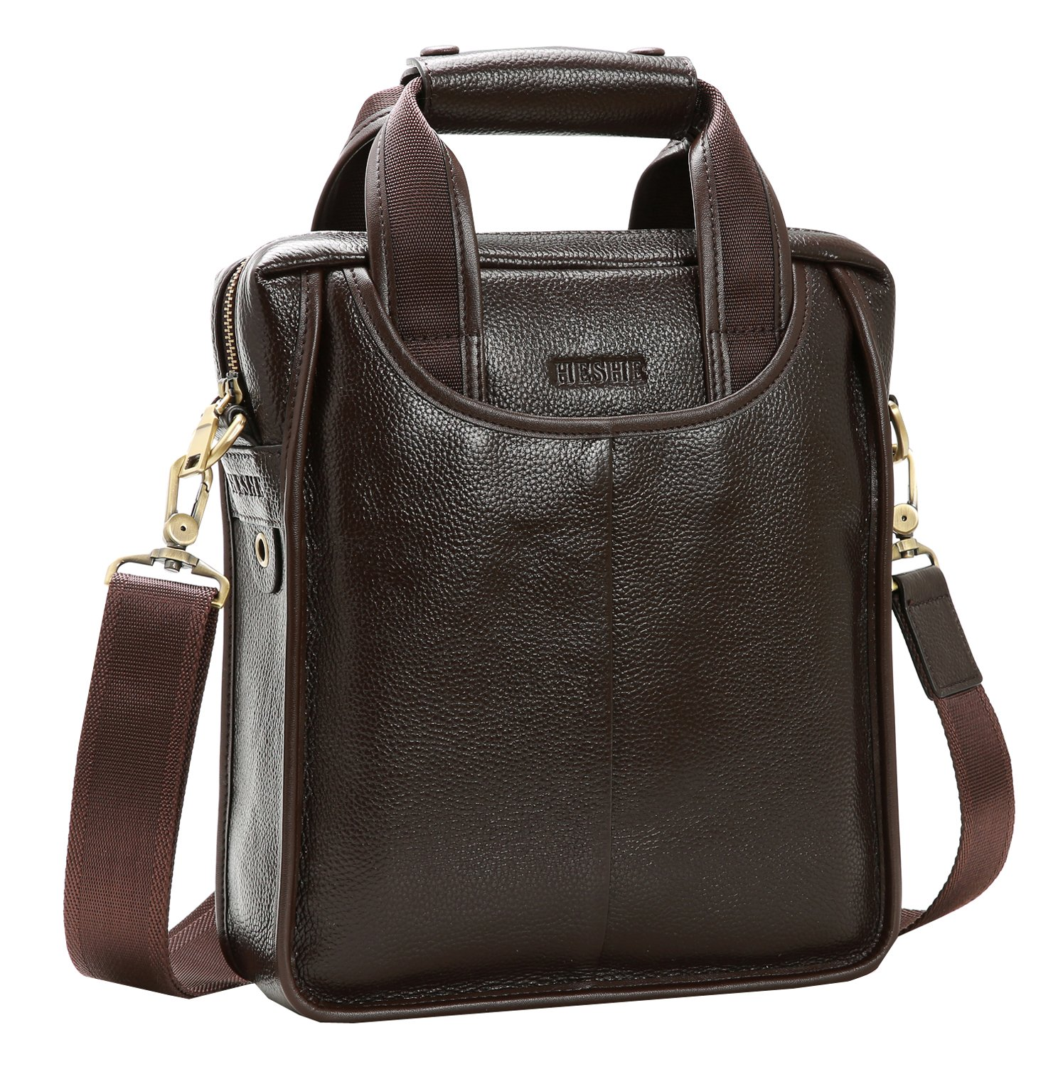 On Clearance Heshe Men's Vintage Leather Messenger Bag Briefcase Handbag Small Shoulder Bags (Coffee)
