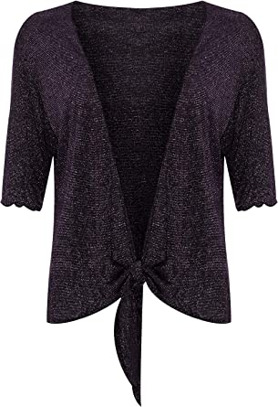 d9637e3f82f5 Plus Size Womens Lurex Sparkly 3 4 Sleeve Tie Up Ladies Shrug Top ...