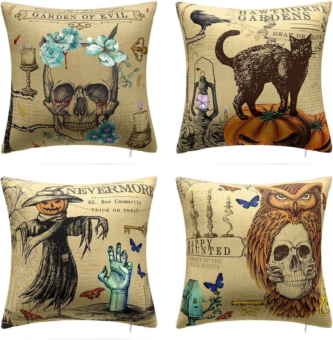 Mengt Halloween Pillow Covers Trick Or Treat Pumpkin Skull Couch Throw Pillow Covers 18 X18 Vintage Scary Black Cat Linen Pillow Cases Home Decorations Double Sided Pattern Home Kitchen
