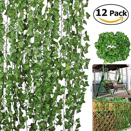 Bosdontek Hiedra Hojas de Vid Artificial Guirnalda Plantas Decoración Verde Follaje de Seda Hogar Jardín Valla Boda Fiesta Ventana Escalera Exterior: Amazon.es: Hogar