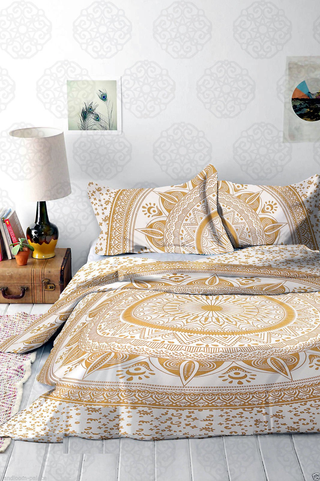 4 PC Set Gold Ombre Doona Bedding Boho Indian Duvet Cover Reversible Doona Cover with 1 pc Tapestry Queen Size Bedsheet Elephant Mandala Wall Hanging Beach Throw & Pillow Covers Hippie (Multi)