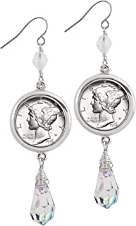 product image for Mercury Dime Crystal Drop Coin Earrings