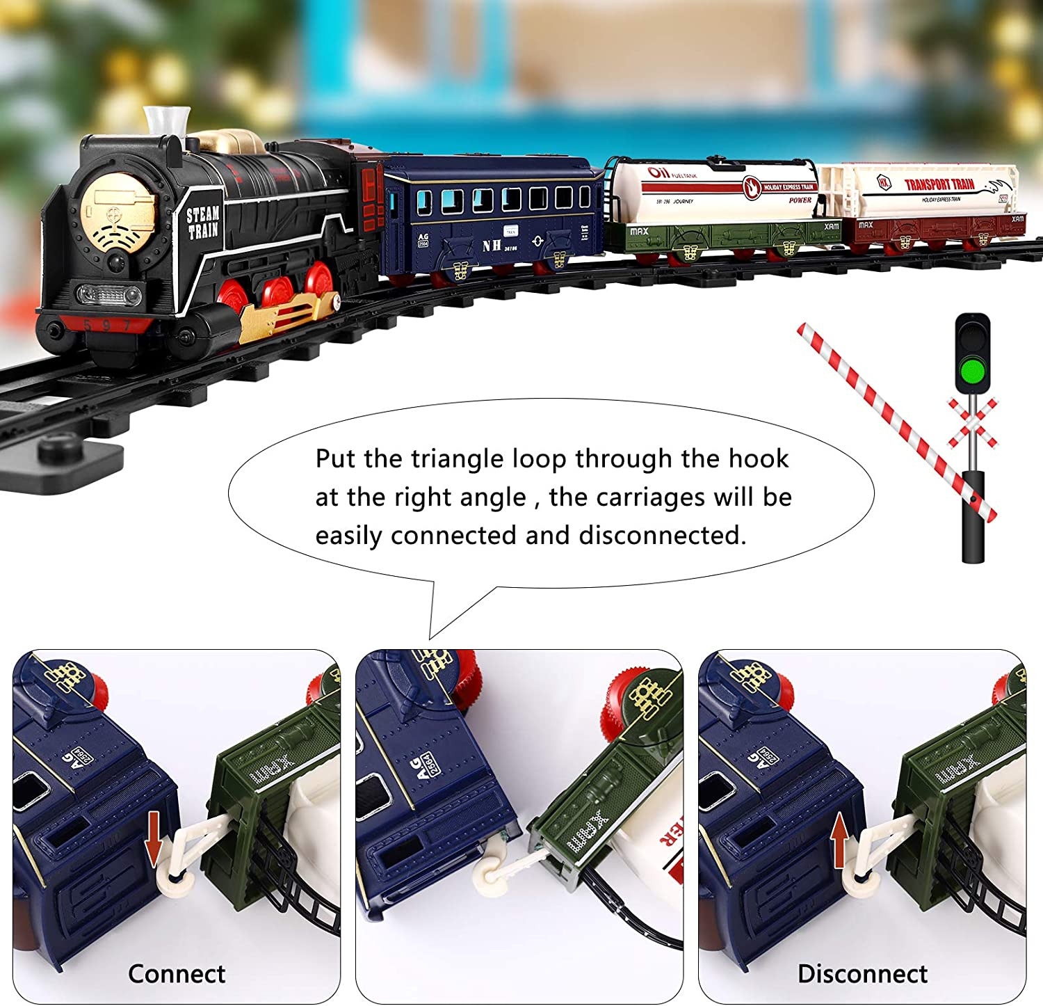 iBaseToy Steam Train Set for Kids Electric Battery Operated Toys Train for Christmas Tree with Lights and Music Classic Toy Train Set Gifts for 3 4 5 Years Old Include 4 Cars and 17 Tracks