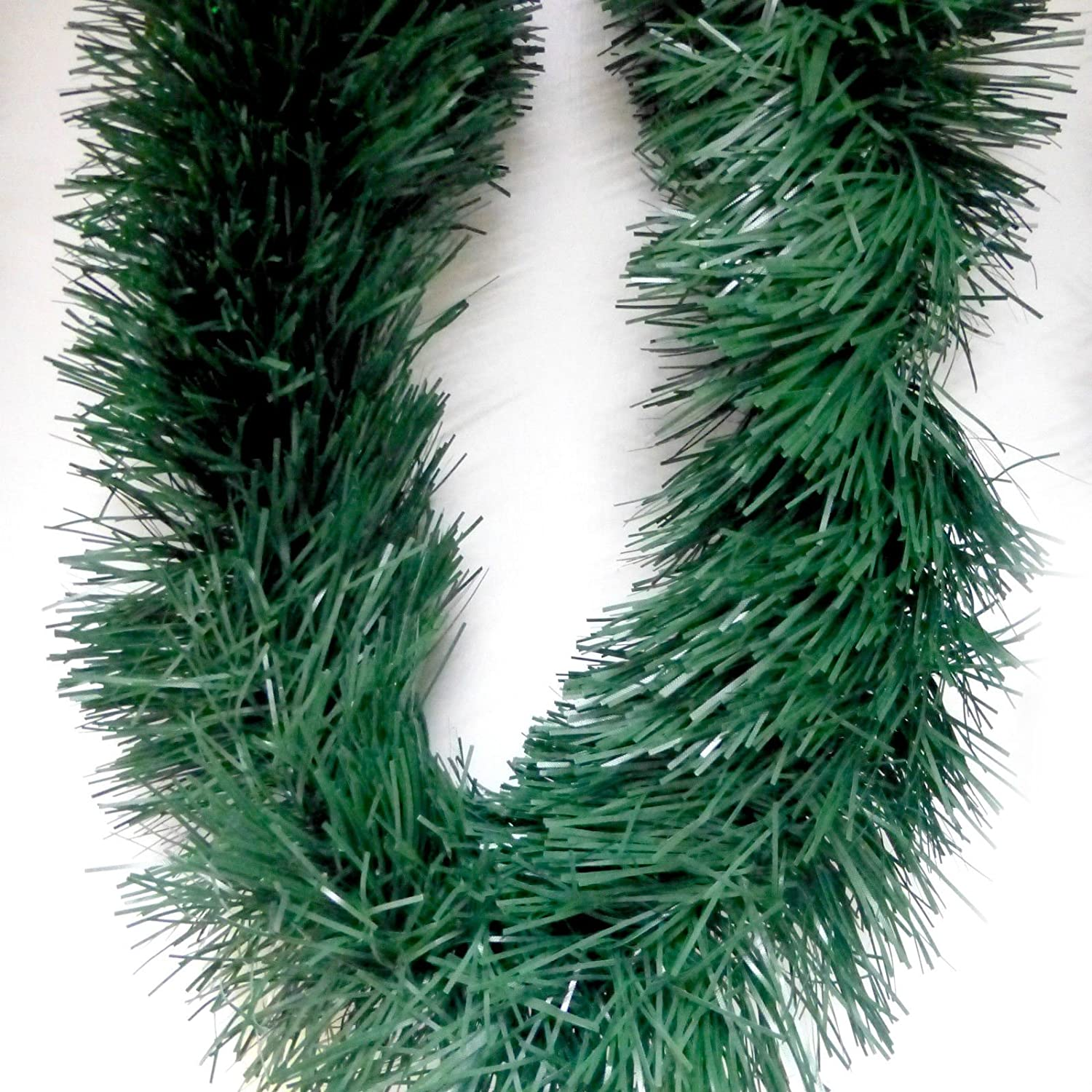 24ft Fir Green Tinsel Supplied in two 12ft/3.65m lengths Christmas Matt Fir Green Tinsel Garland fir-green-tinsel