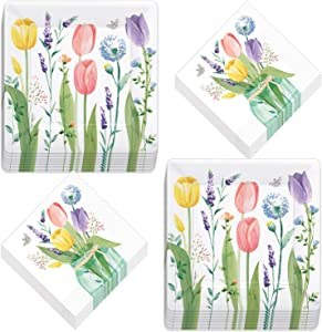 Spring Tulip Garden Square Paper Dinner Plates and Luncheon Napkins (Serves 16)