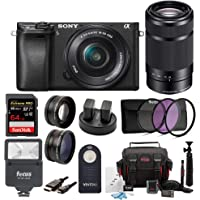 Sony ILCE-6300 a6300 4K Mirrorless Camera 16-50mm & 55-210mm Zoom Lens + 64GB Pro Accessory Bundle, Software Pack