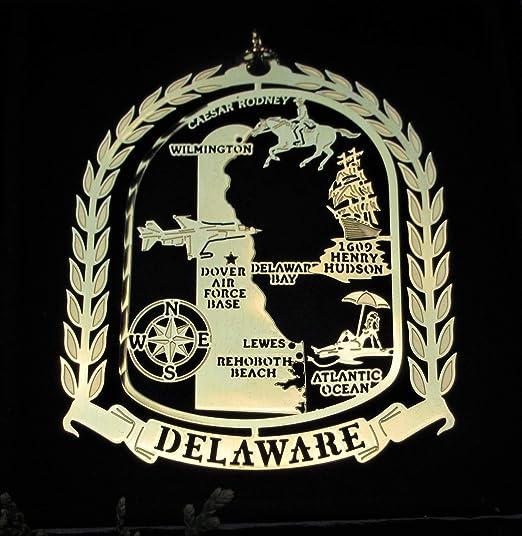 Delaware State Landmarks Brass Ornament Black Leatherette Gift Box