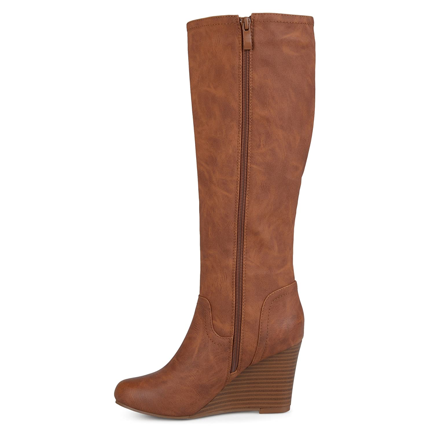 Womens Regular and Wide Calf Round Toe Faux Leather Mid-Calf Wedge Boots Brinley Co