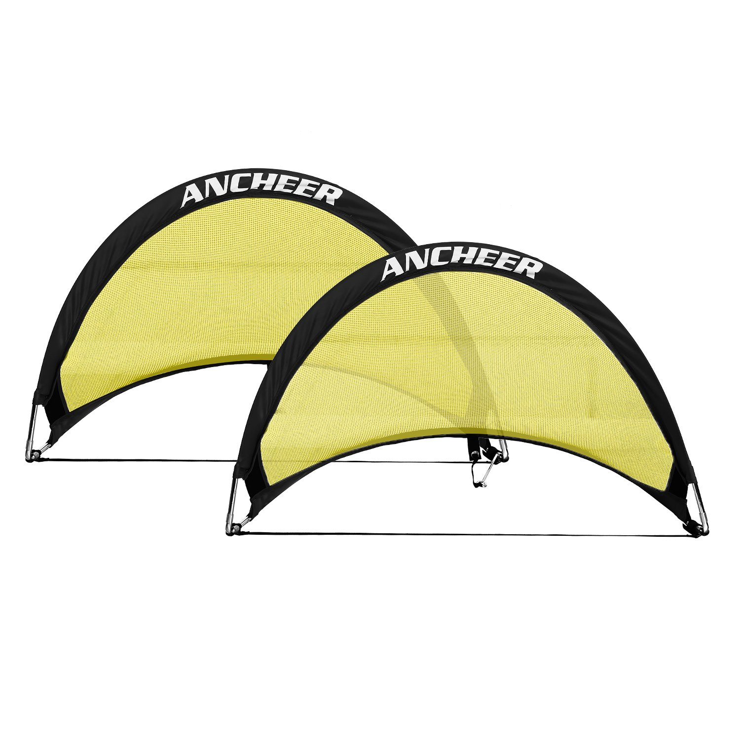 Ancheer Pop Upサッカーゴール、ポータブルサッカーネットのセット2 with Carryバッグ、で使用できる2.5 Ft、4 ft、6 ft イエロー B073LV5XYV