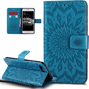 iPhone 8 Plus Case,iPhone 7 Plus Case,ikasus Embossing Mandala Flowers Sunflower PU Leather Magnetic Flip Folio Kickstand Wallet Case with Card Slots Case for Apple iPhone 8 Plus/iPhone 7 Plus,Blue