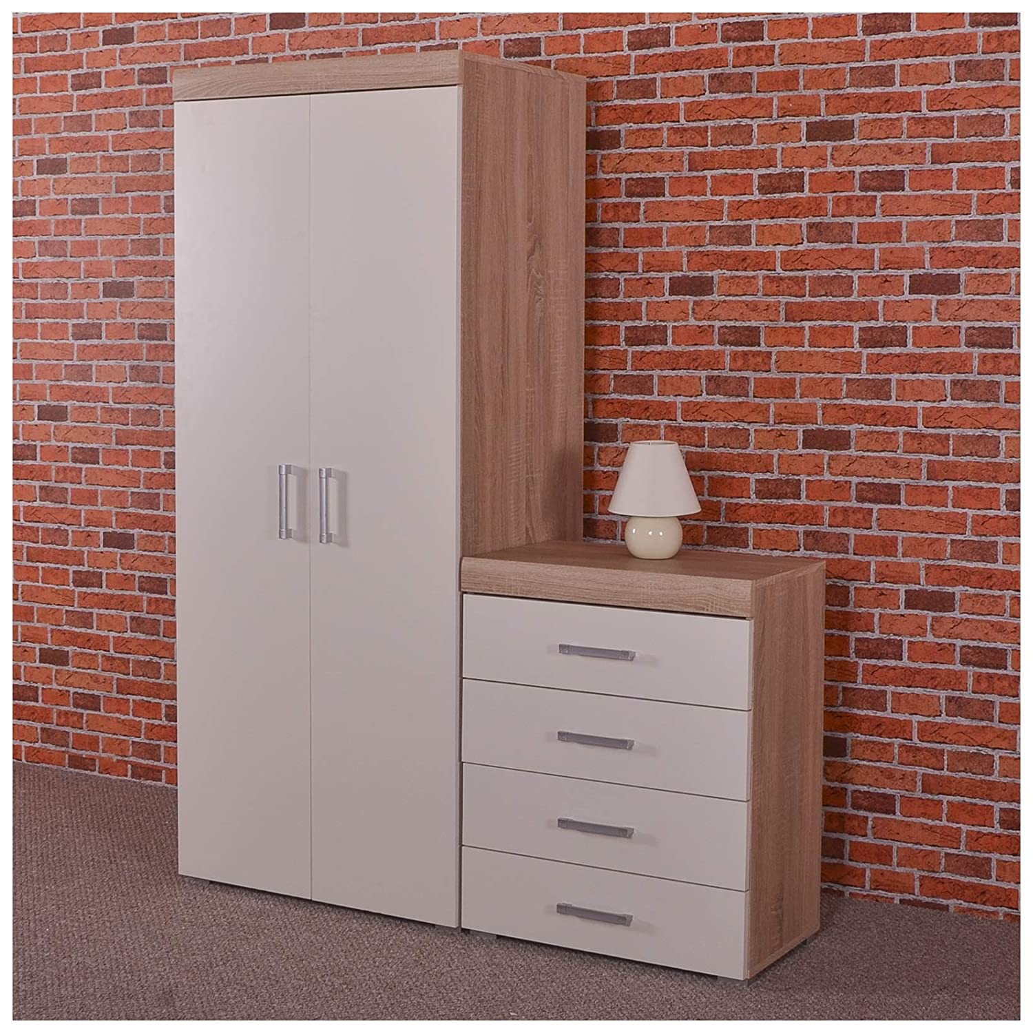 DRP Trading 2 Door Wardrobe & 4 Drawer Chest in White & Sonoma Oak Bedroom Furniture Set