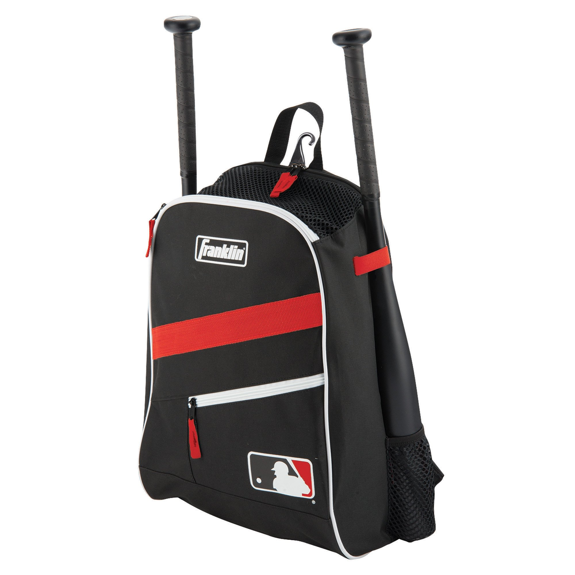 Franklin Sports MLB Batpack Bag - Youth Baseball, Softball and Teeball Bag - Equipment Bag for Sports - Bag Holds Bats (2) and Includes Fence Hook - Black/Red/White by Franklin Sports