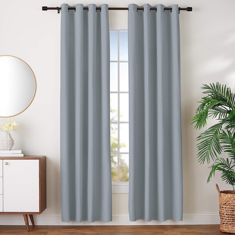 "AmazonBasics Room Darkening Blackout Window Curtains with Grommets - 52"" x 96"", Dark Grey, 2 Panels"