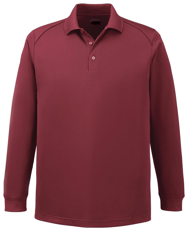 Armour Mens Performance Snag Protection Long Sleeve Polo Shirt L Burgundy