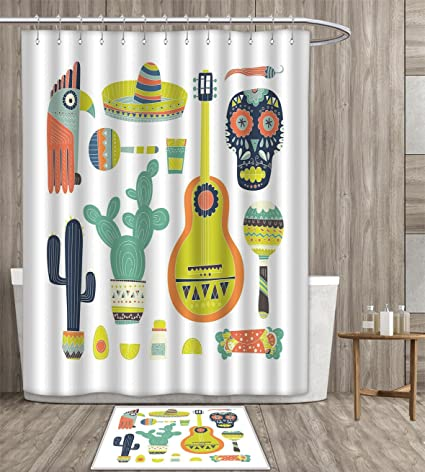 Duommhome Fiesta Shower Curtain Customize Symbols From Mexico Guitar Face Aztec Mask Tequila Skull Musical Instruments