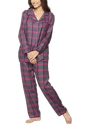revendeur 15f2f 4c15d Pyjama en flanelle pour femmes, T-shirt à patte boutonnée ...