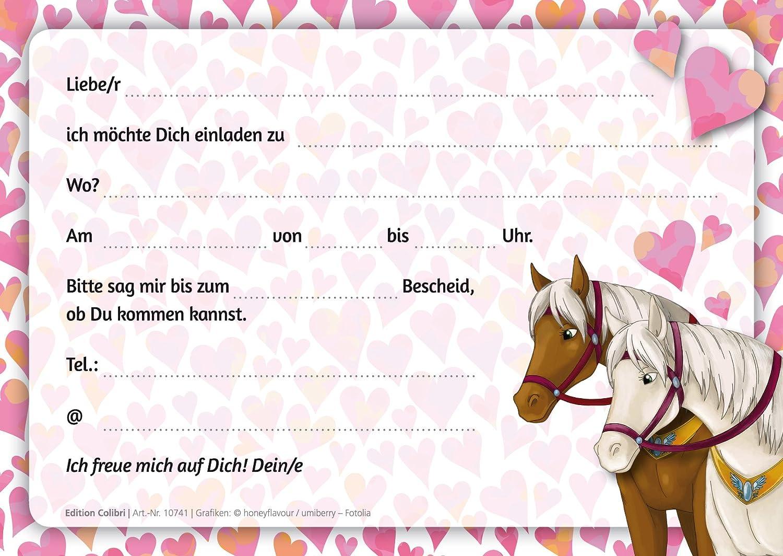 Perfekt 12 Pferde Einladungen (Set 1): 12 Er Set Liebevoll Illustrierte Pferde  Einladungskarten Zum Kindergeburtstag Von Mädchen Von EDITION COLIBRI  (10741): ...