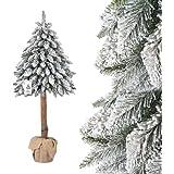 FAIRYTREES Weihnachtsbaum künstlich im Topf FICHTE NATURSTAMM, mit Schneeflocken, Material PVC, Baumstamm aus echtem Holz, 180cm