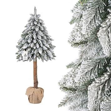 Künstlicher Tannenbaum Im Topf.Fairytrees Künstlicher Weihnachtsbaum Im Topf Fichte Naturstamm Mit Schneeflocken Material Pvc Baumstamm Aus Echtem Holz 150cm Ft21 150