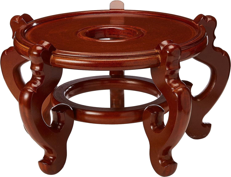 Oriental Furniture Rosewood Fishbowl Stand - Honey - Size 10.5 in. Base Diameter