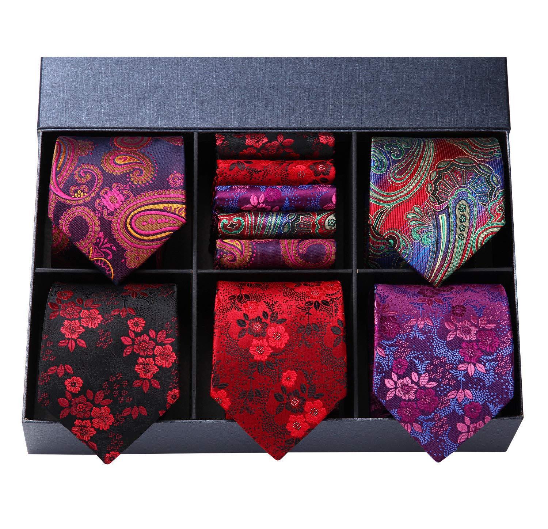 HISDERN Men's Necktie Collections, Lot 5 PCS Classic Men's Silk Tie Set Necktie & Pocket Square with Gift Box,T5-s1,One Size by HISDERN