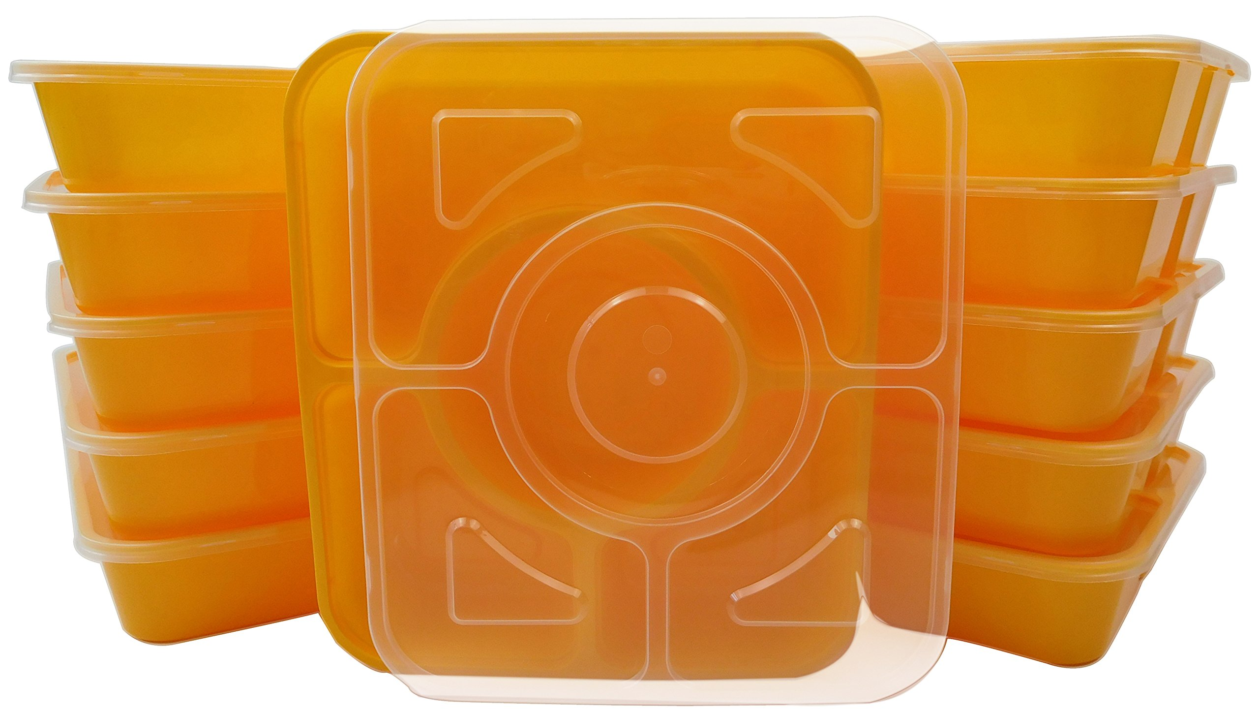 Table To Go 240-Pack Bento Lunch Boxes with Lids (4 Compartment/ 36 oz) (Yellow)