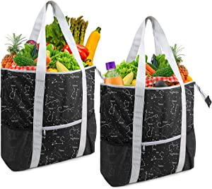 Black Grocery Insulated Totes for Hot Cold Frozen Food Transport Large Durable Reusable Grocery Shopping Bags with Zipper Top Long Handles Personalized Geometric Design