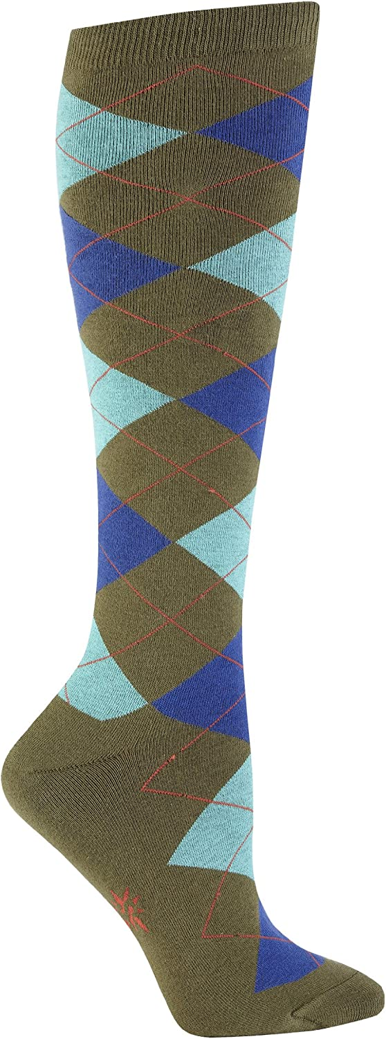 Argyle Turquoise /& Yellow Sock It To Me Women/'s Knee High Socks