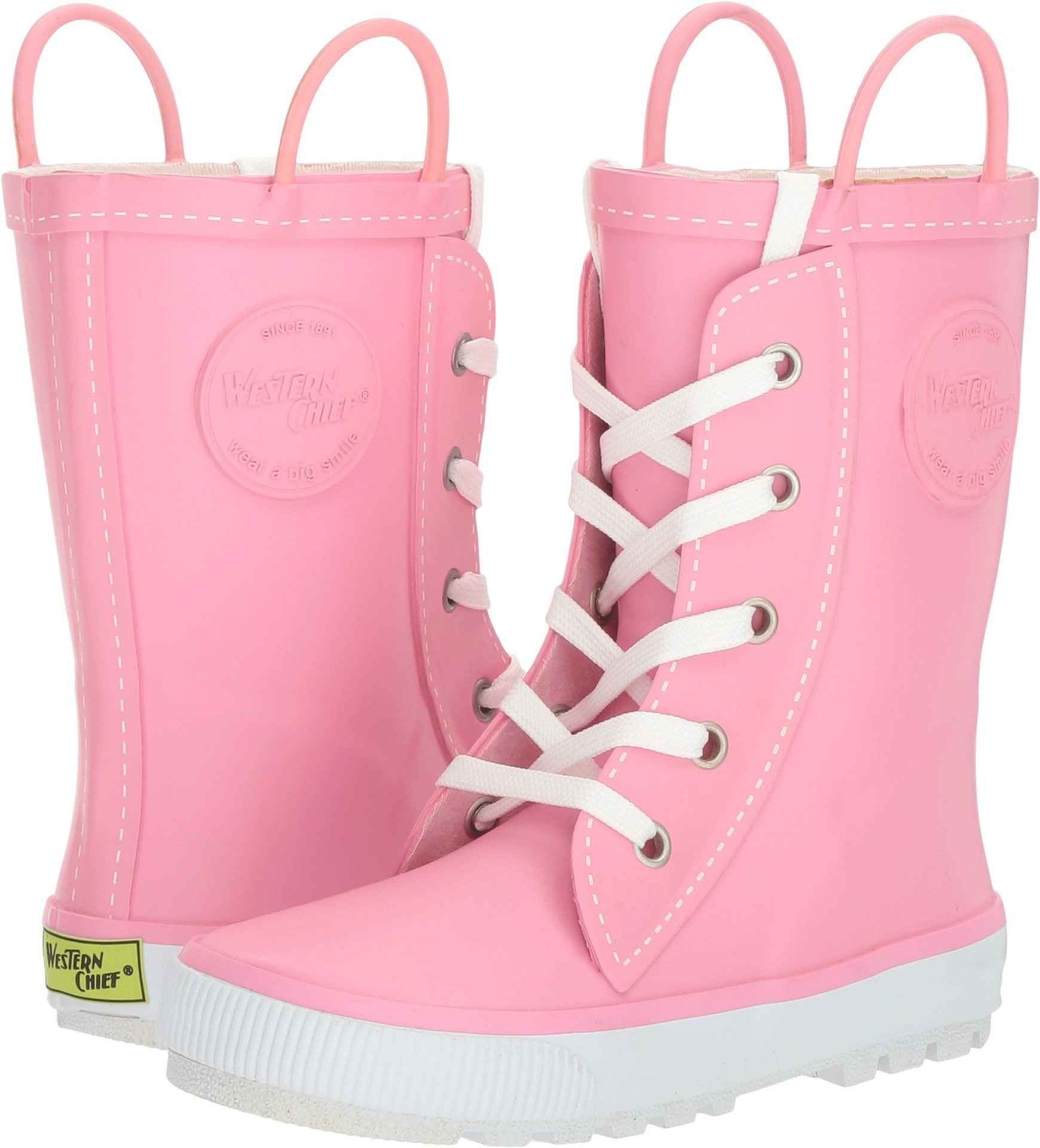 Western Chief Girls Printed Rain Boot, Sneaker Pink, 4 M US Big Kid