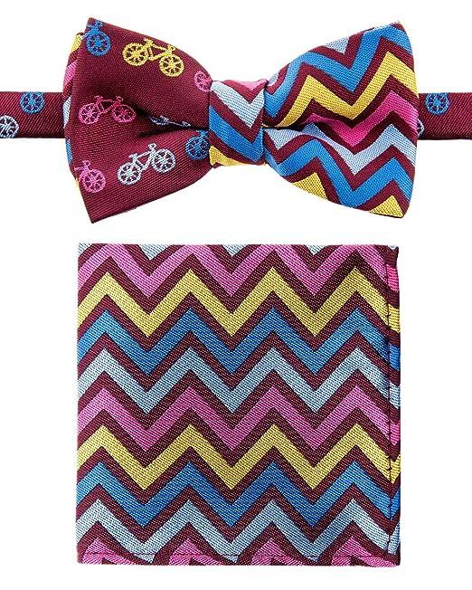 Canacana Smiley Emoji Pre-tied Boys Bow Tie with Stripes Pocket Square Set