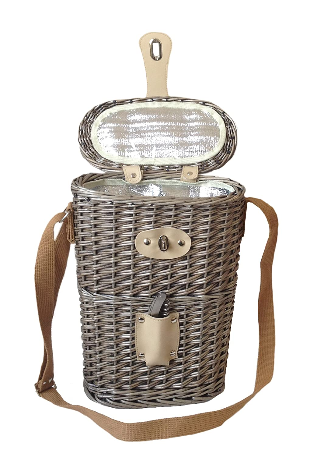 2 Bottle Chilled Carry Wicker Storage Basket with Bottle Opener - Gift ideas for Christmas, Birthday, Wedding, Anniversary Fine Gifts UK