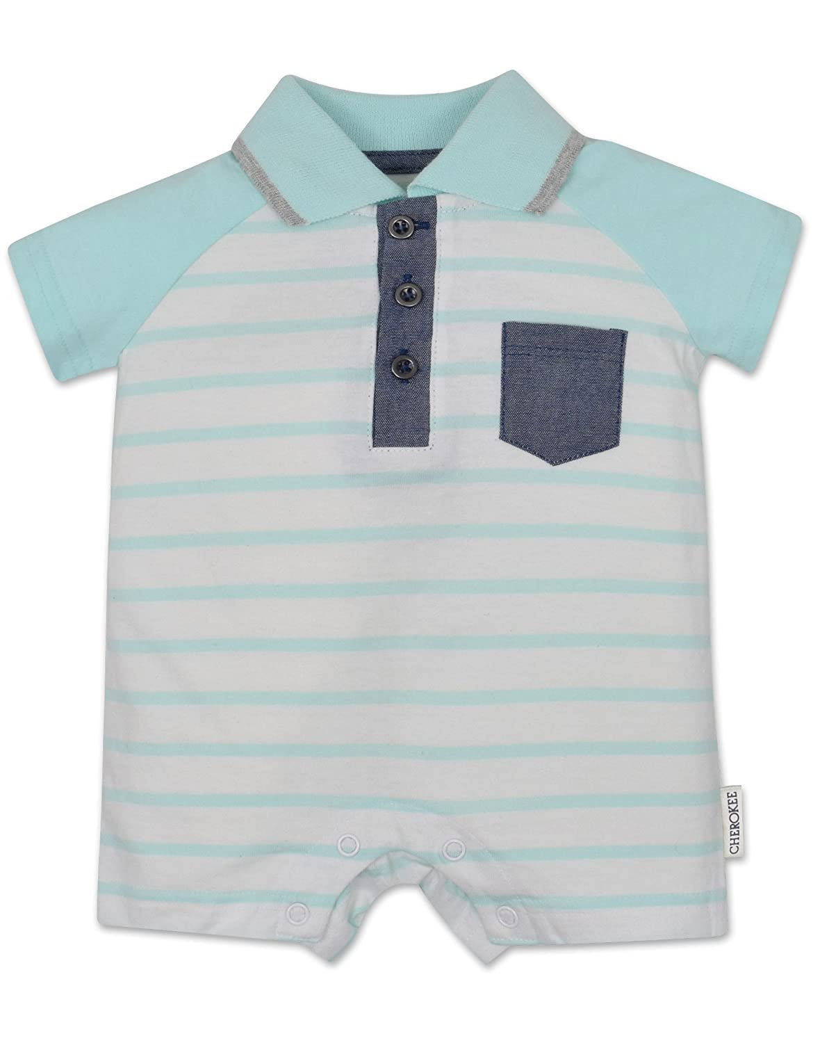 Cherokee Baby Boys Romper with Fashion Collar and Buttons White with Blue Stripes