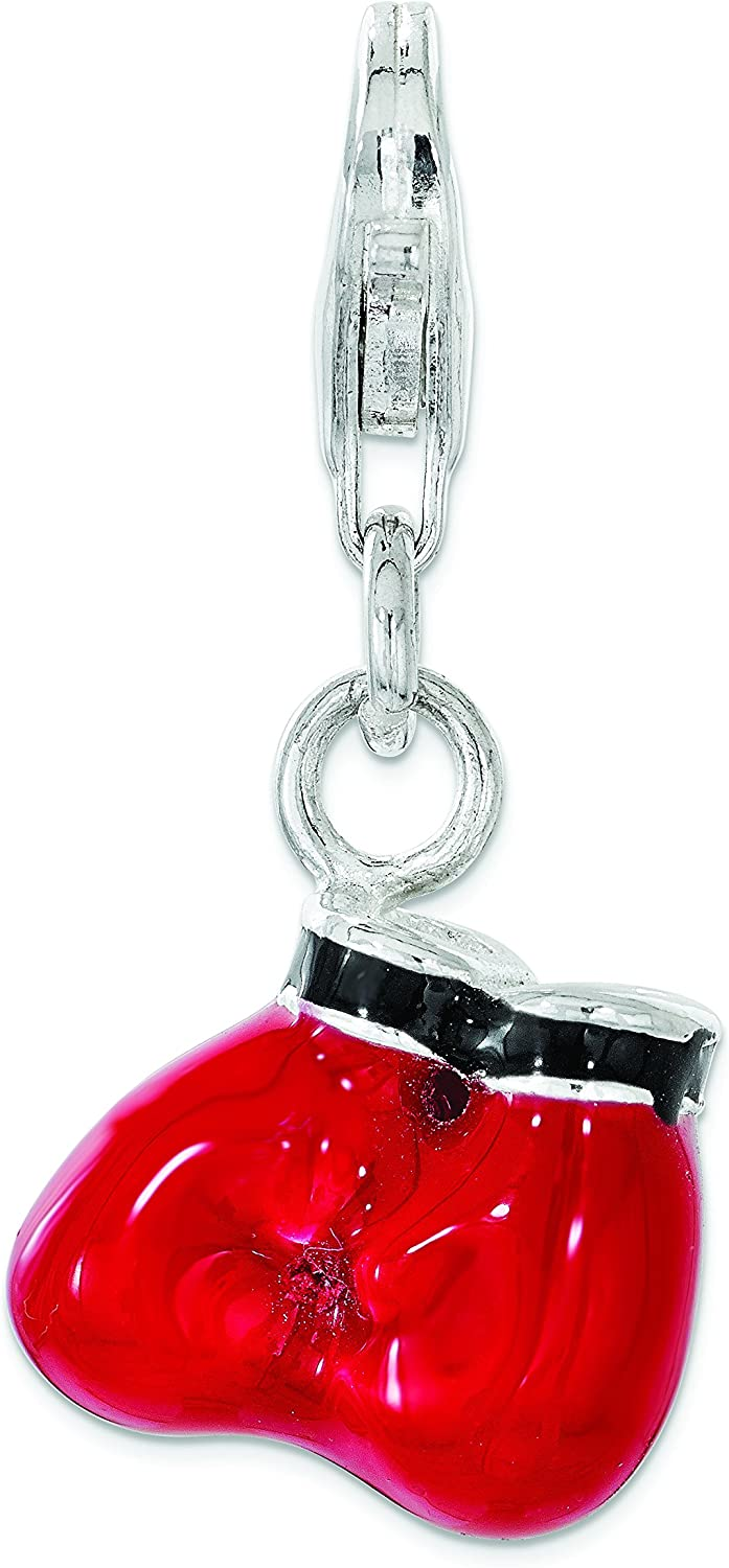 Amore La Vita Sterling Silver Polished Red Enameled Boxing Gloves with Lobster Clasp Charm